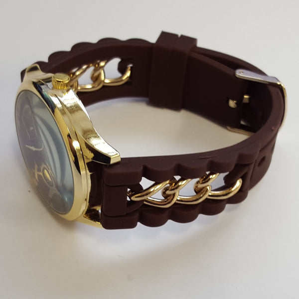 Cheeky Ladies Watch Gold Trim Dial Analogue Brown Silicone Chain HE005 Brown