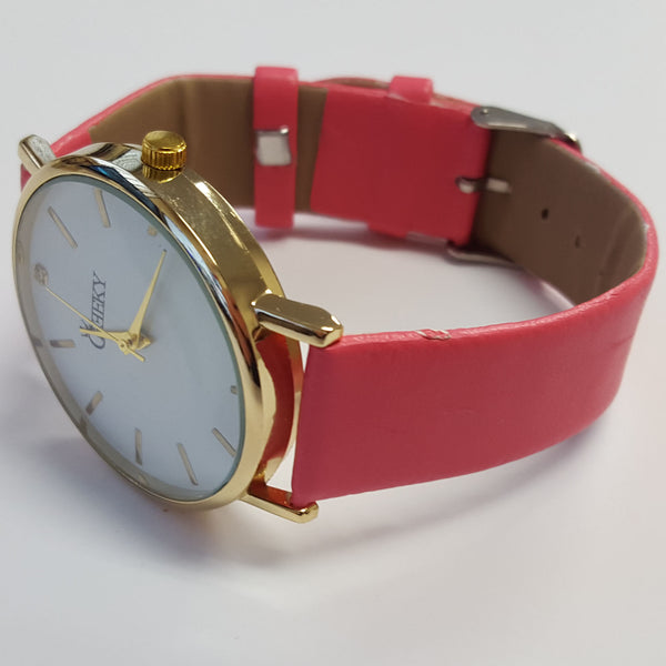Cheeky Ladies Faux Pink Leather Large Face Analogue Watch HE010 Pink