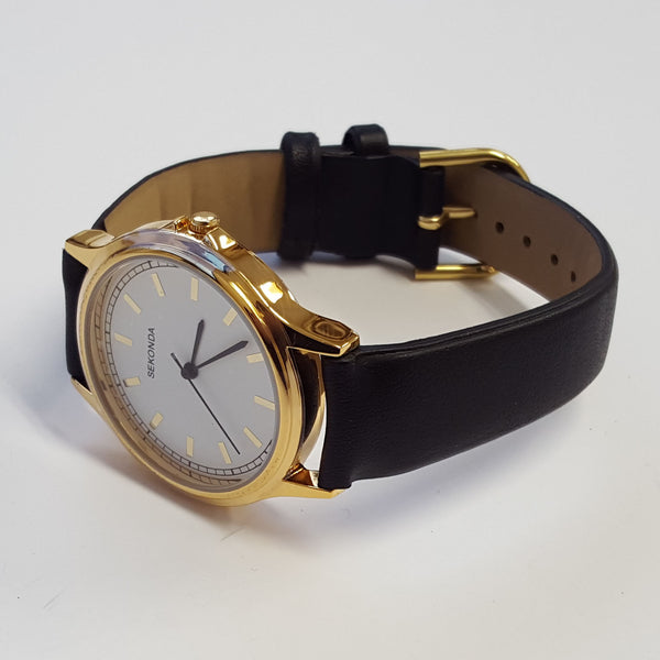 Stylish Mens Sekonda Black Leather Gold Plated White Dial Luxury Watch 3136
