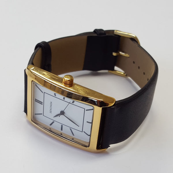 Sekonda Mens White Dial Gold Plated Case Black Strap Luxury Dress Watch 3283
