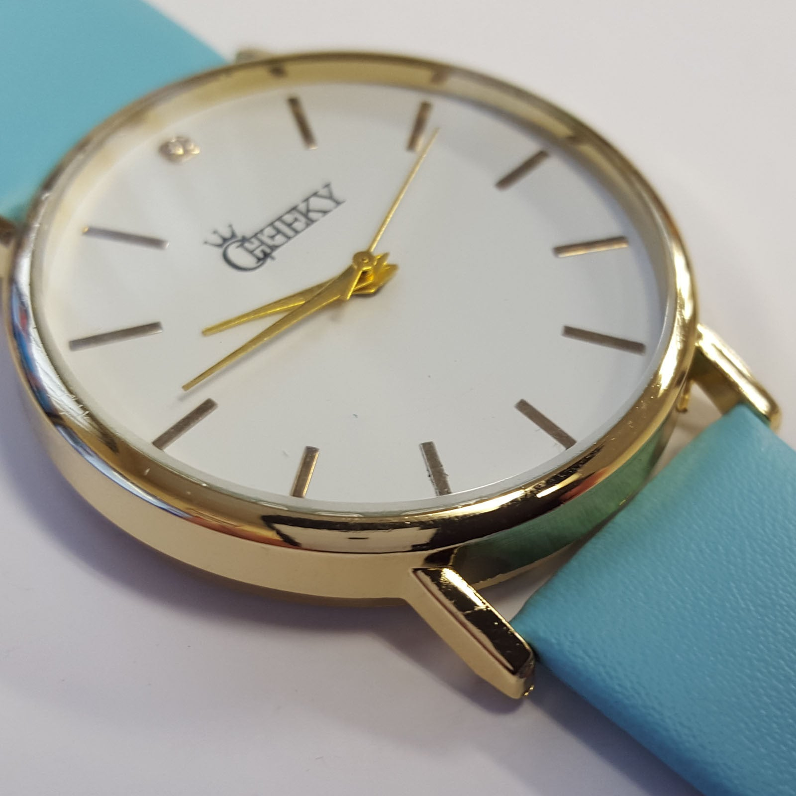 Cheeky Ladies Faux Blue Leather Large Face Analogue Watch HE010 Light Blue