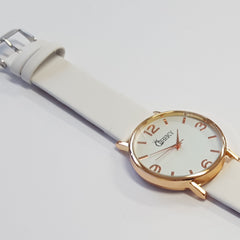 Cheeky Ladies Faux Leather Strap White Dial Analogue Watch HE009 White