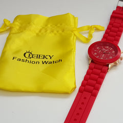 Stylish Mens' Red Silicone w/ Rose Gold Fashion Watch by Cheeky HE-13 RED