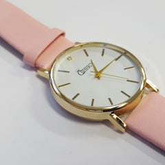 Cheeky Ladies Faux Pink Leather Large Face Analogue Watch HE010 Light Pink