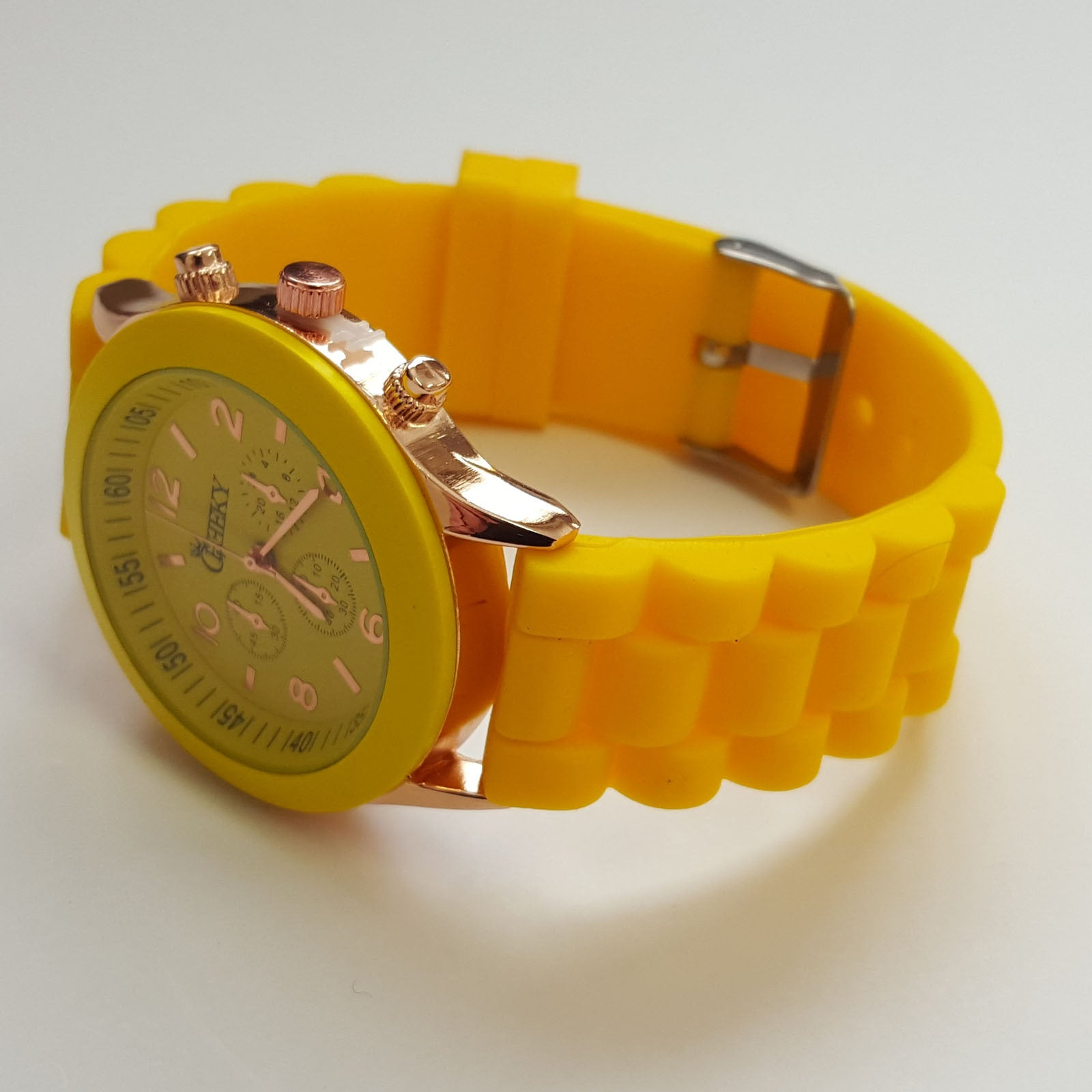 Mens Yellow Silicone w/ Rose Gold Fashion Watch by Cheeky HE-13 Yellow