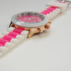 Cheeky Ladies Two Tone Pink Silicone Gold Trim Analogue Watch HE014 Hot Pink