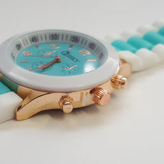 Cheeky Ladies Two Tone Mint Silicone Gold Trim Analogue Watch HE014 Mint
