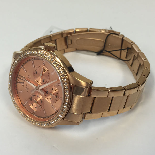 amazing deals on designer jet set watches uk delivery stylish ladies jet set swag rose gold stainless steel chrono watch j1621r 022