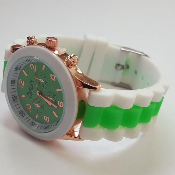 Cheeky Ladies Two Tone Green Silicone Gold Trim Analogue Watch HE014 Green