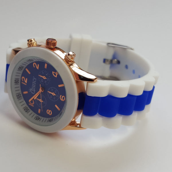 Cheeky Ladies Two Tone Blue Silicone Gold Trim Analogue Watch HE014 Blue