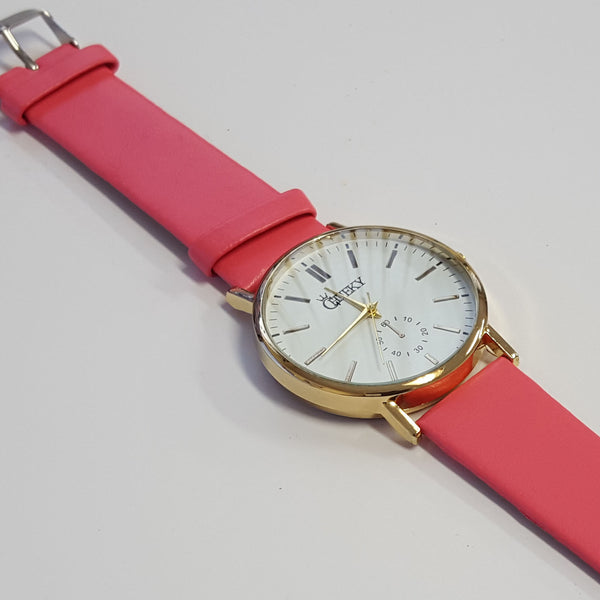 Cheeky Ladies Faux Leather Strap White Dial Analogue Watch HE010 Pink