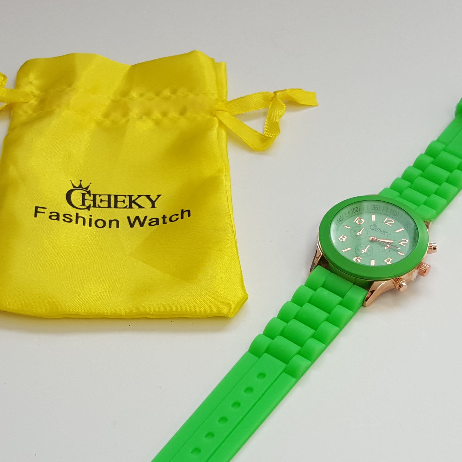 Stylish Mens' Green Silicone w/ Rose Gold Fashion Watch by Cheeky HE-13 Green