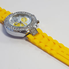 Cheeky Ladies Watch Silver Dial Analogue Yellow Silicone HE003 Yellow Silver