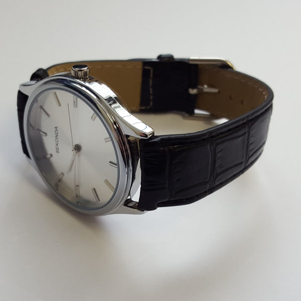 5dfcd0a0e Mens Black Leather White Dial Stainless Steel Case Watch by Sekonda 3099  Boxed