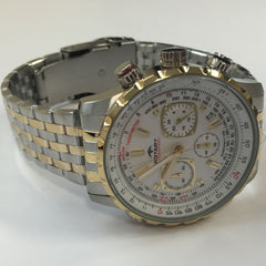 Elegant Mens Rotary Stainless Aquaspeed Two Tone White Dial Watch GB00171/06