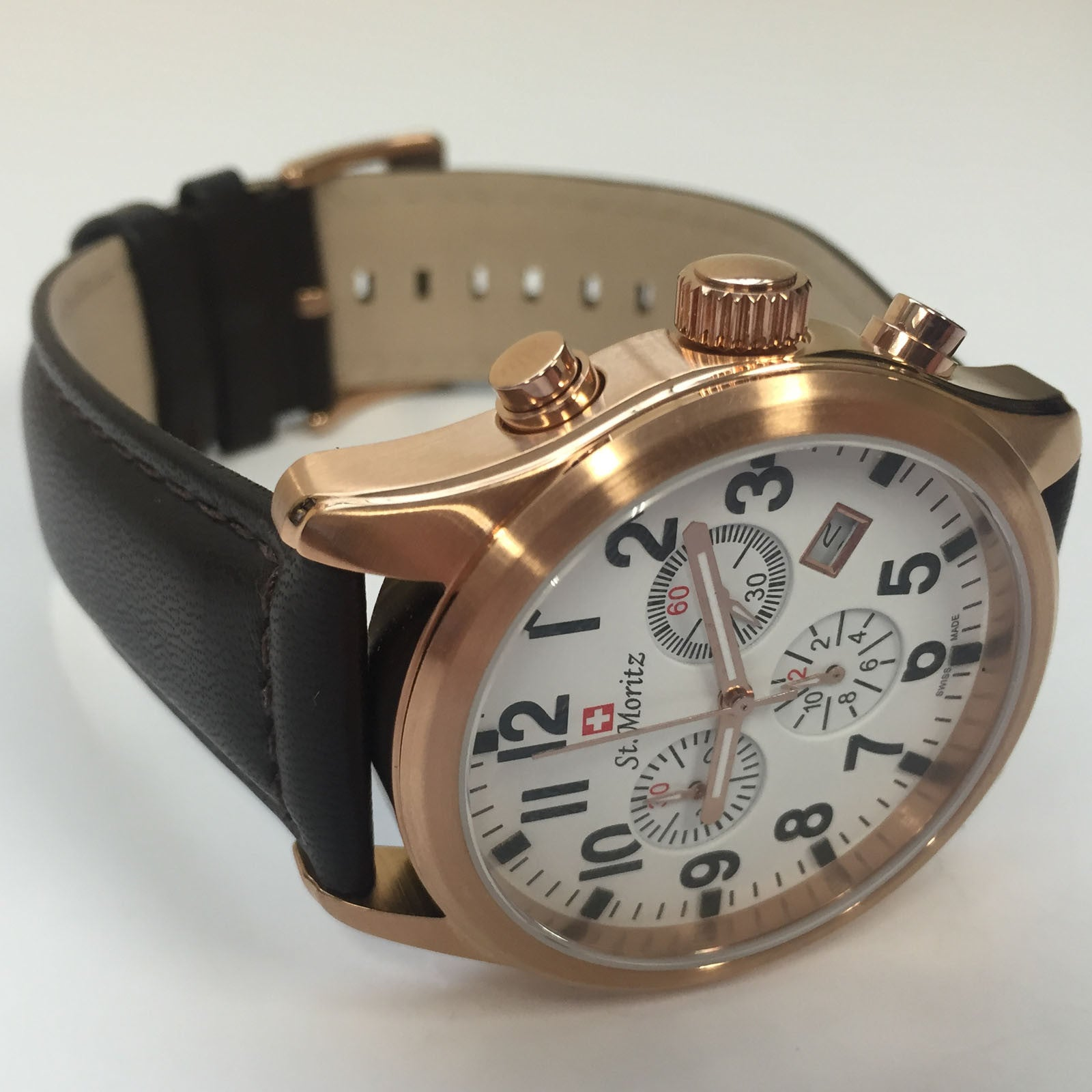 Stylish Rotary St Moritz Chronograph Brown Leather Strap Mens Watch GS03609/18