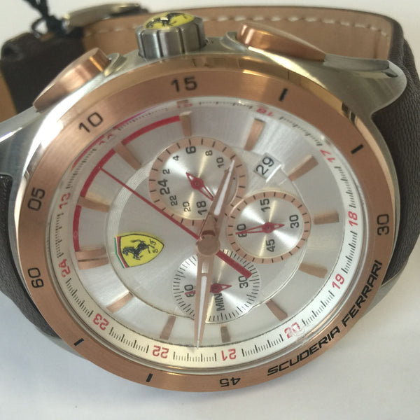 Rose Gold Stainless Steel Leather Strap Mens Ferrari SF830190 Gran Premio Watch
