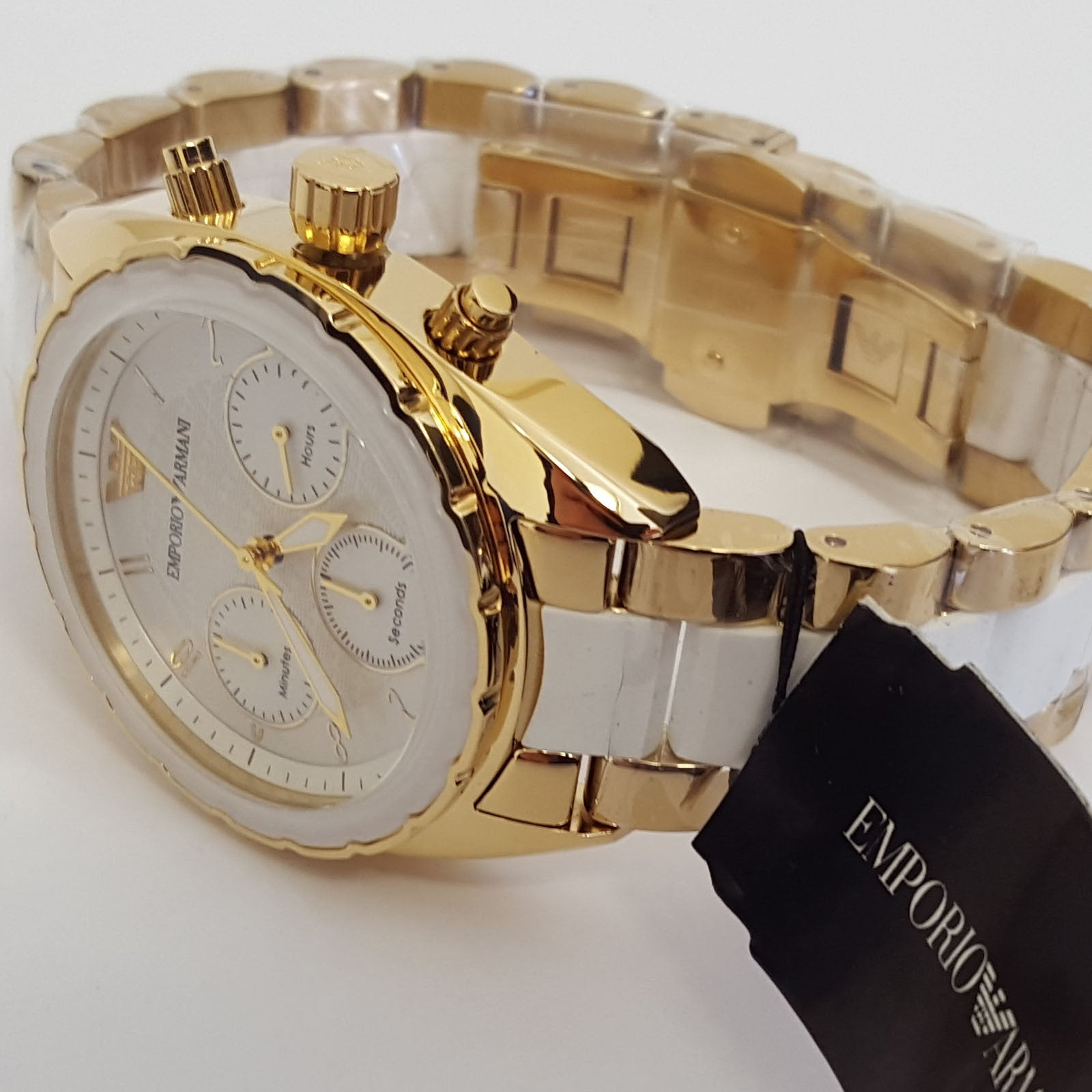 elegant two tone ladies white steel gold watch by emporio armani elegant two tone ladies white steel gold watch by emporio armani ar5944