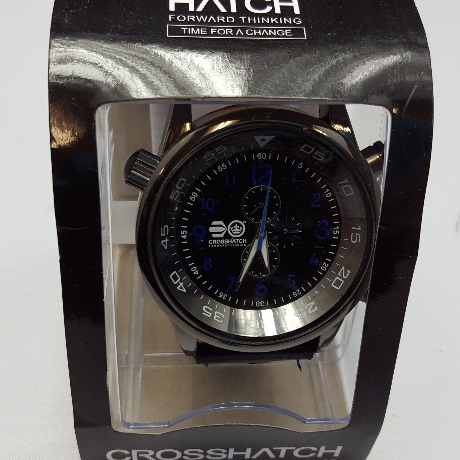 CrossHatch Analogue Gents Chrono Effect Black/Blue PU Strap Mens Watch CRS09B