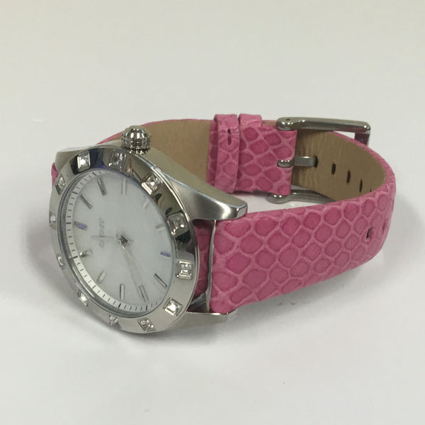 Ladies Genuine DKNY Pink Leather Strap Mother Of Pearl Dial Watch UNBOXED NY8787