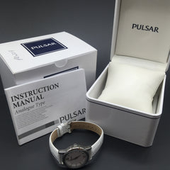 Pulsar White Leather and Silver Ladies Dress Watch PWR019