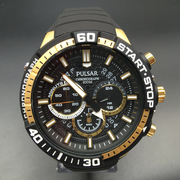 Pulsar Men's Stainless Steel Black and Gold Rubber Strap Watch PT3550