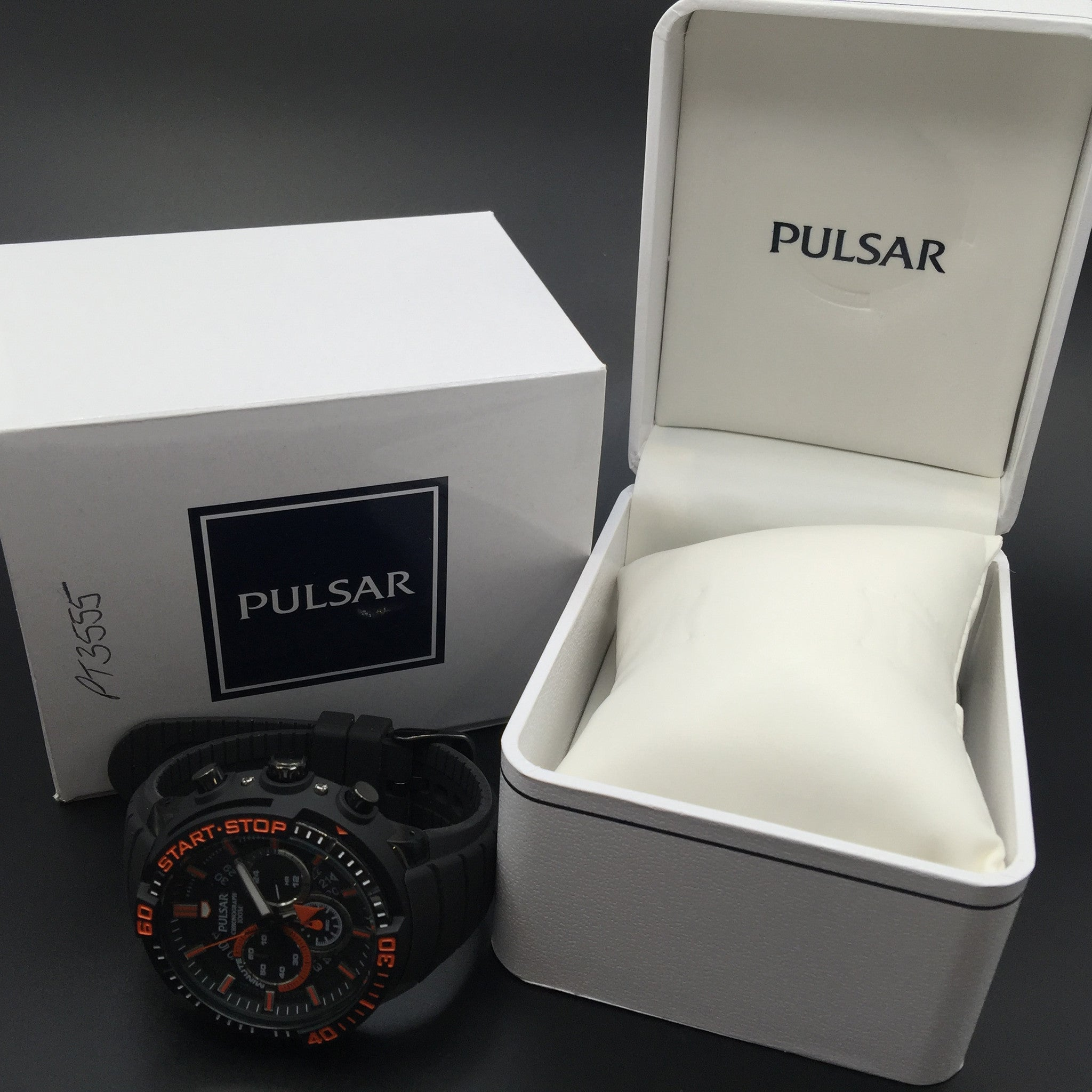 Pulsar Men's Black and Orange Rubber Strap Watch PT3555