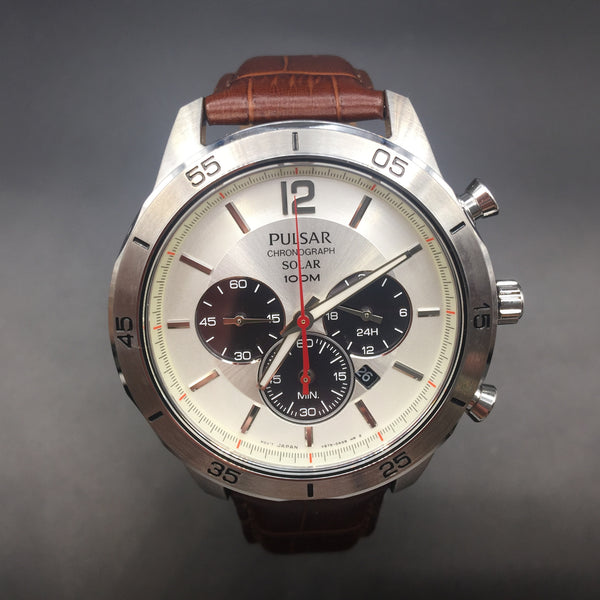 Pulsar Men's Solar Brown Leather Strap Chronograph Watch PX5049
