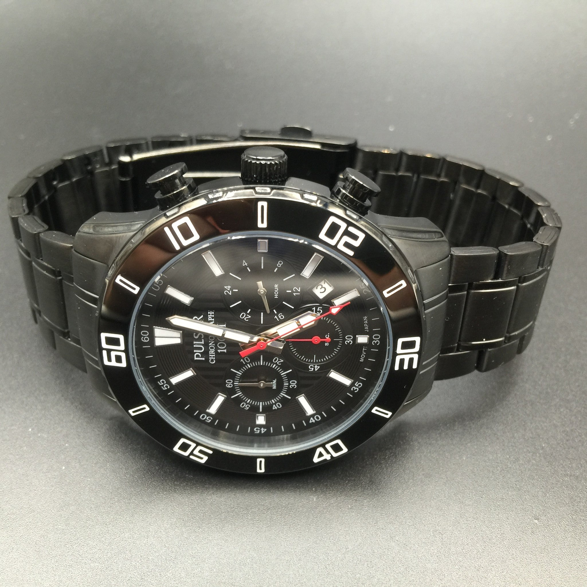 Pulsar Men's Black Chronograph Watch PT3367