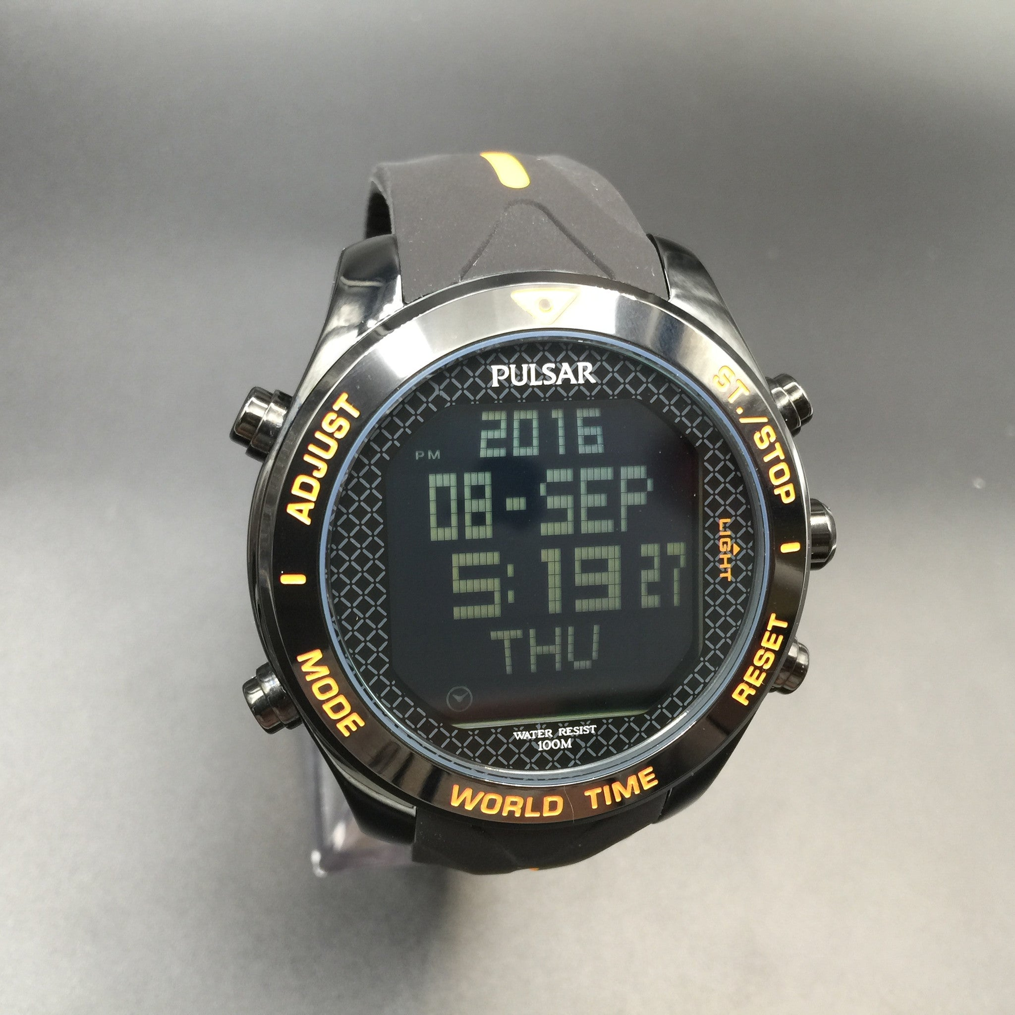 Pulsar Men's Digital Black and Orange Chronograph Watch PQ2037