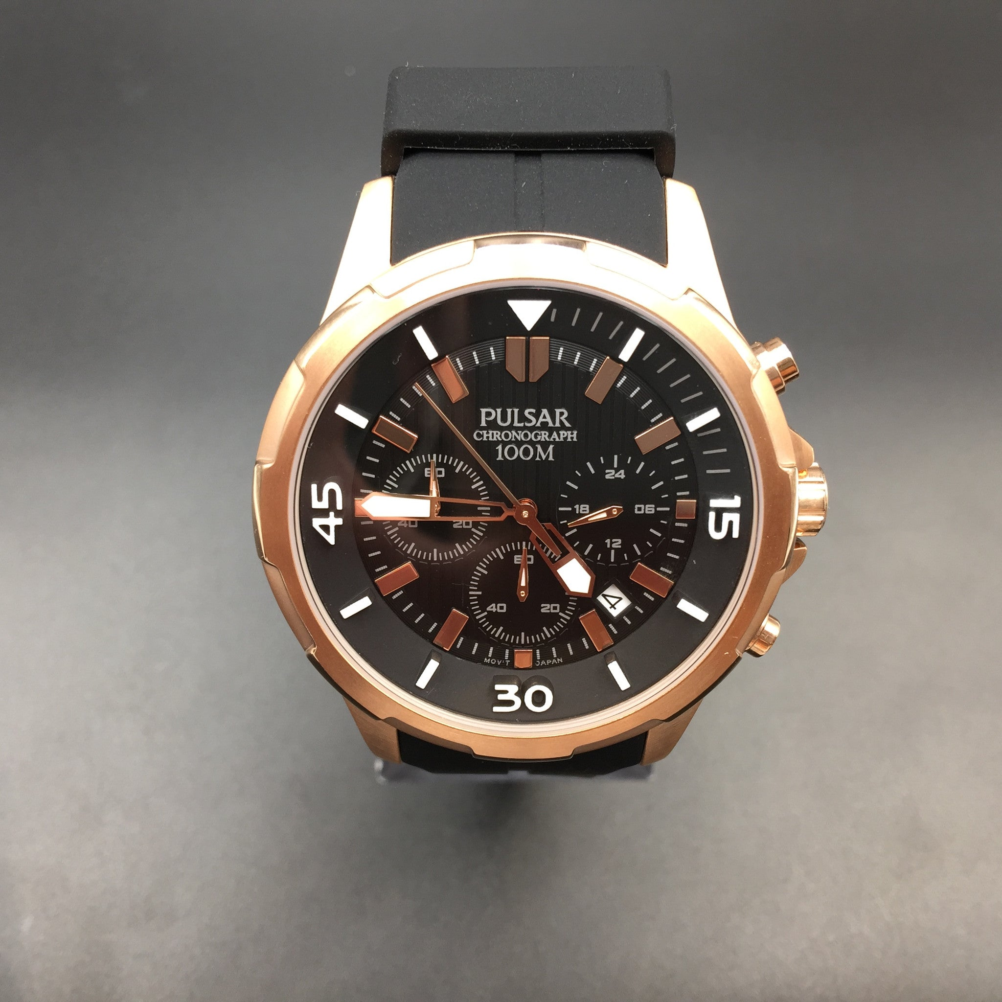 pulsar men s black and rose gold chronograph watch pt3716 pulsar men s black and rose gold chronograph watch pt3716