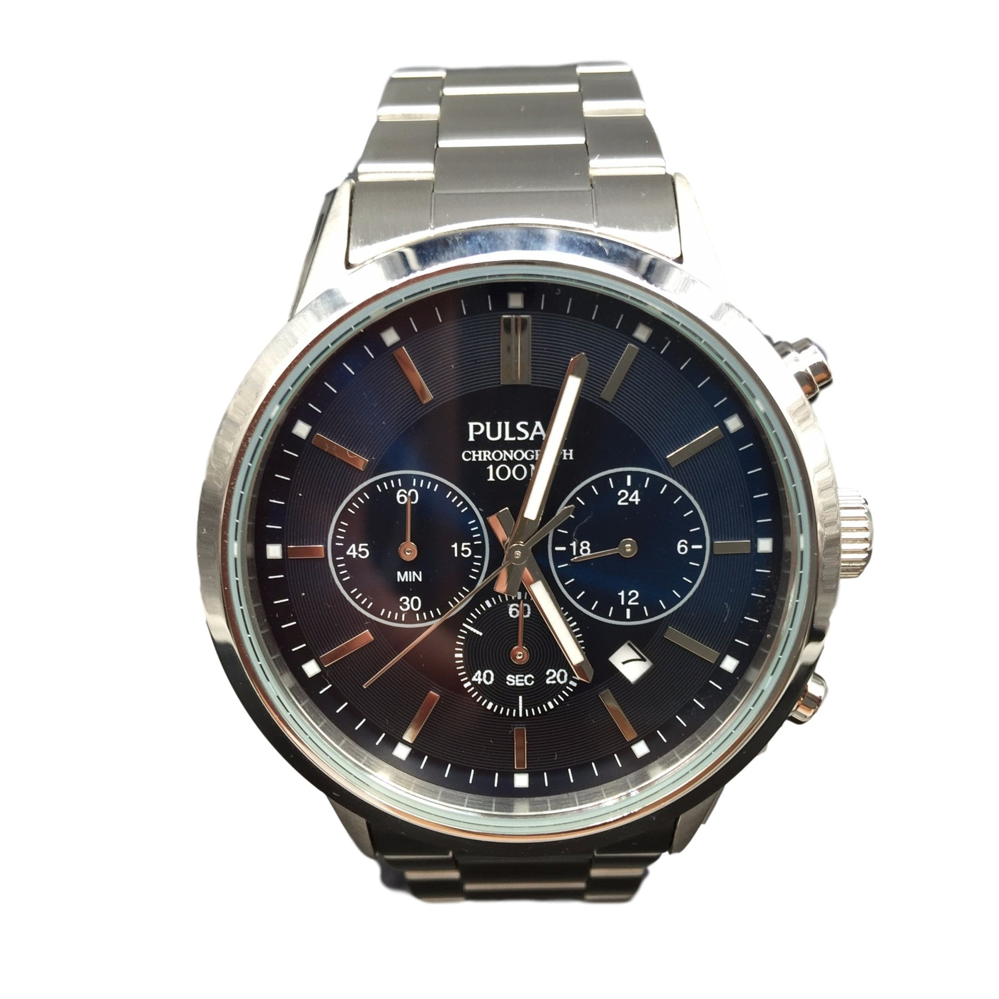pulsar men s blue dial silver chronograph watch pt3741 chronos pulsar men s blue dial silver chronograph watch pt3741