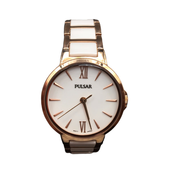 Pulsar Ladies Rose Gold and White Watch PH8078