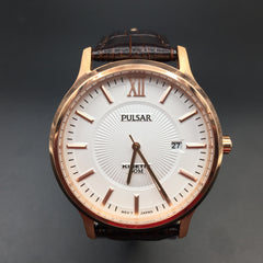 Pulsar Men's Analogue Brown Leather Strap Watch PAR184