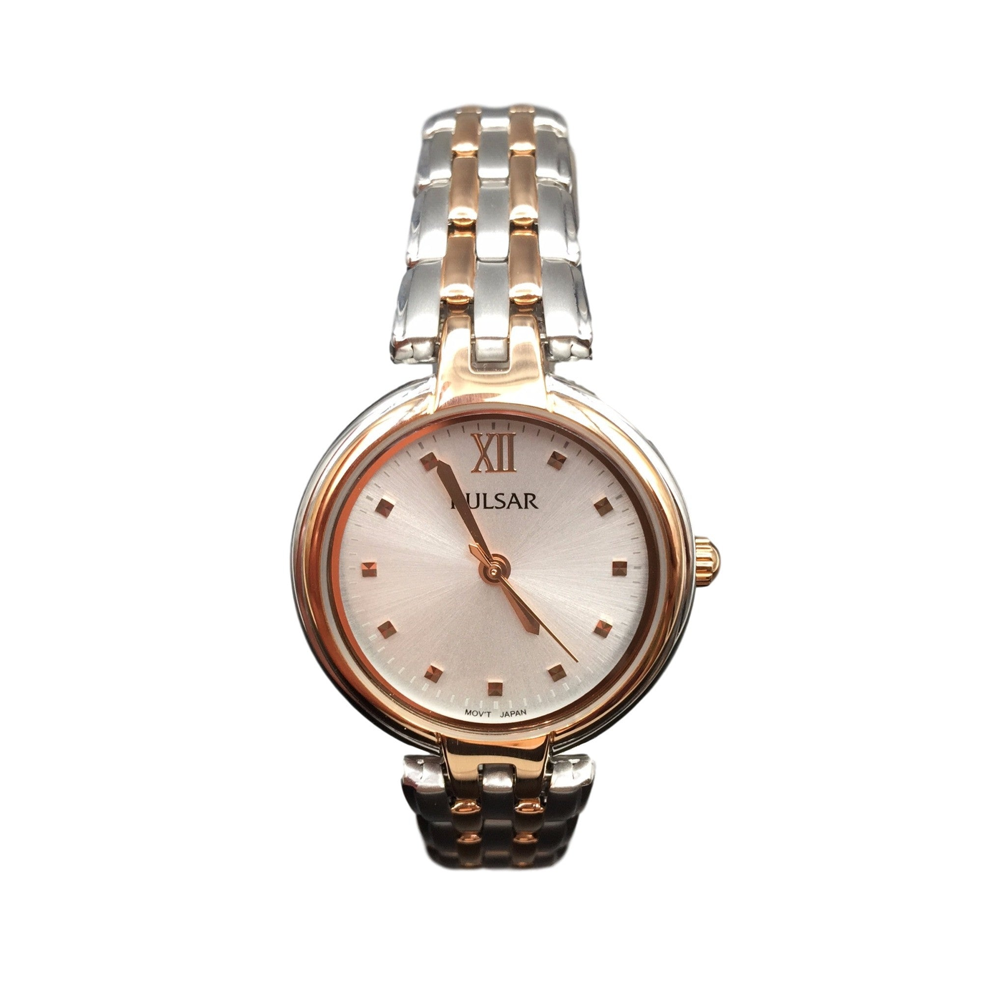 rosegold tone gold rose diamond ctw s laurel products multifunction two watches women stainless silver jbw watch front steel