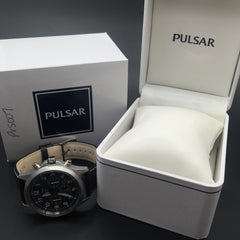 Pulsar Men's Black Leather Solar Chronograph Watch PX5007