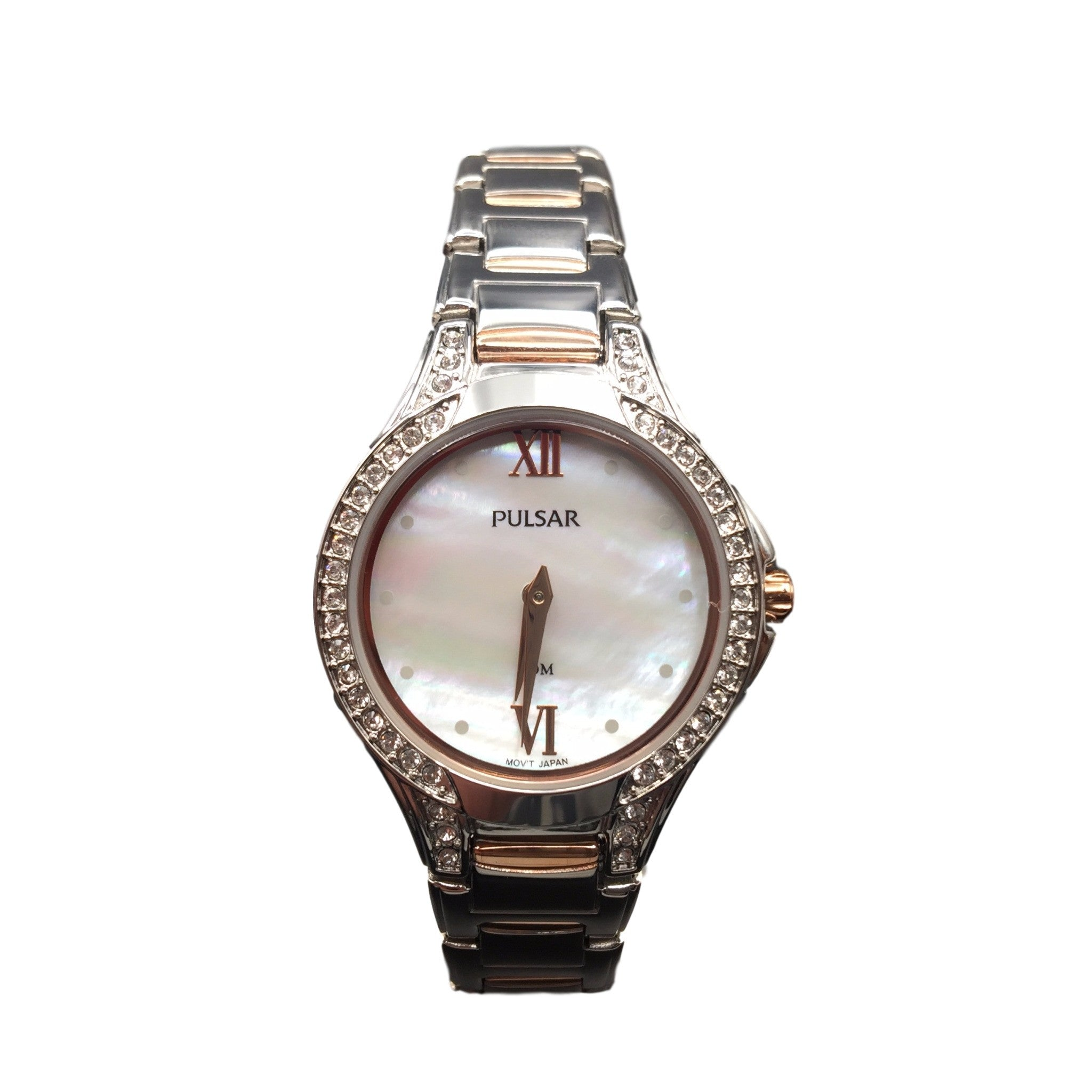 Pulsar Ladies Two Tone Silver and Rose Gold Mother of Pearl Swarovski Watch PM21