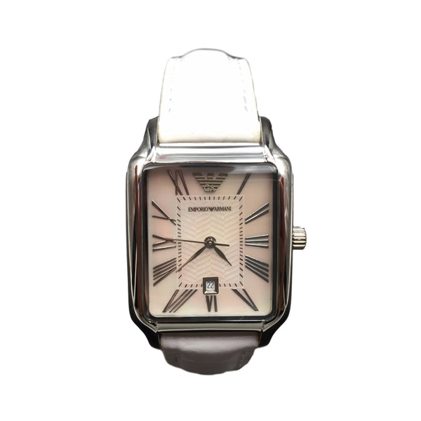 Armani Ladies White Leather Rectangular Mother of Pearl Watch AR0420