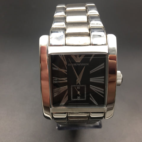 Armani Men's Classic Black Leather Square Watch AR0180