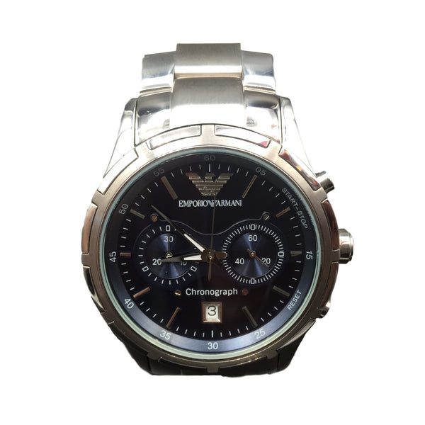Armani Stainless Steel Blue Face Chronograph Watch AR0583