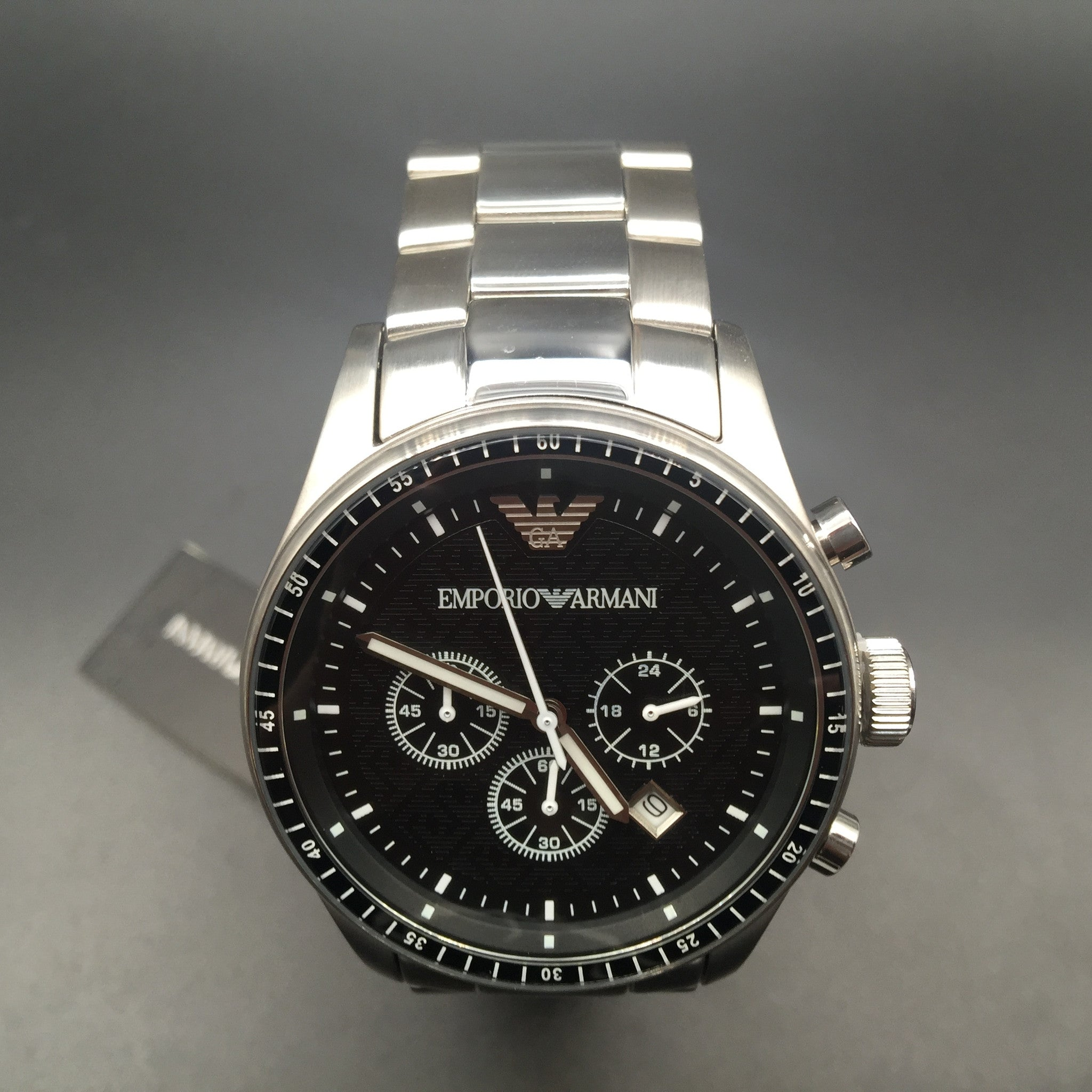 Emporio Armani Gents AR0585 Chronograph Stainless Steel Bracelet Watch AR2