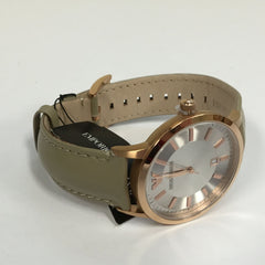 Emporio Armani AR2466 Mens Quartz Analogue Beige Leather Strap Fashion Watch