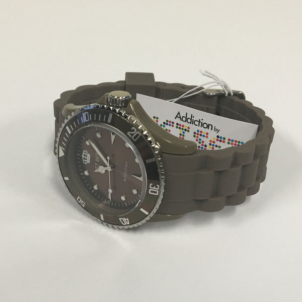 Jet Set Military Green Addiction Silicone Strap Mens Sports Watch J18314-54