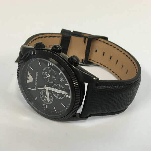 Mens Emporio Armani AR5904 Stainless Steel Chronograph Black Leather Watch