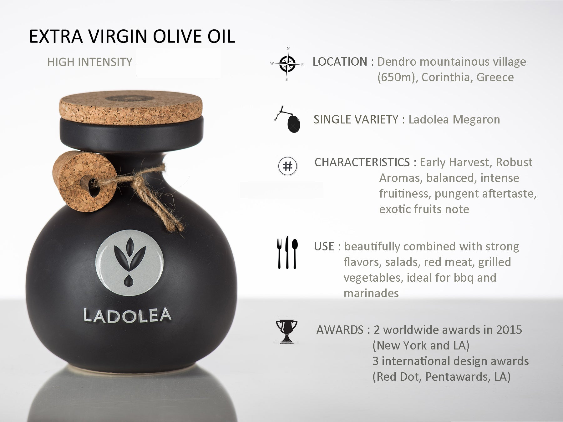 Ladolea Greek Extra Virgin Olive Oil in a Black Ceramic Pot - 200ml
