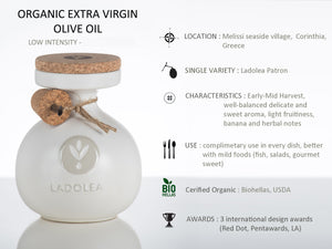 Ladolea Organic Greek Extra Virgin Olive Oil in a traditional White Ceramic Pot - 600ml