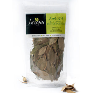 Arogaia Organic Greek Bay Leaves in a resealable bag, 20gr
