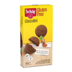 Dr. Schar Cioccolini, Crumbly Shortbread Gluten Free Cookies with light Hazelnut Cream Filling  - 150gr