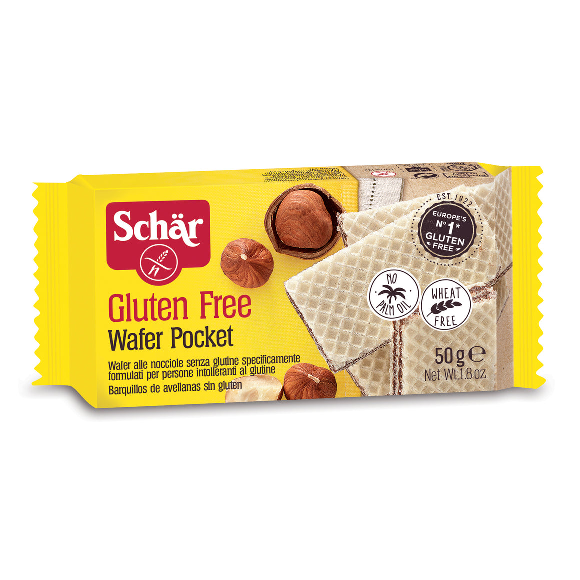Dr. Schar Gluten Free Wafer Pocket with Hazelnut Cream Filling - 50gr