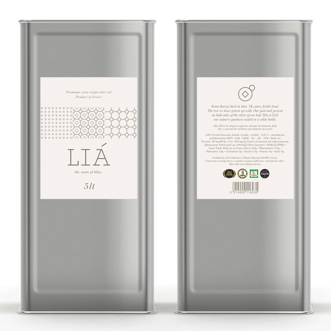 LIÁ Premium Greek Extra Virgin Olive Oil - 5L